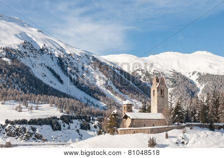 Romanesque ruined church Saint Gian, Switzerland, St. Moritz