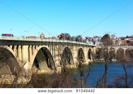 Key Bridge and Georgetown suburb in winter.