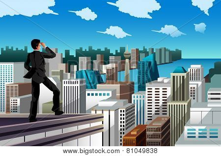 Businessman Standing On A Rooftop