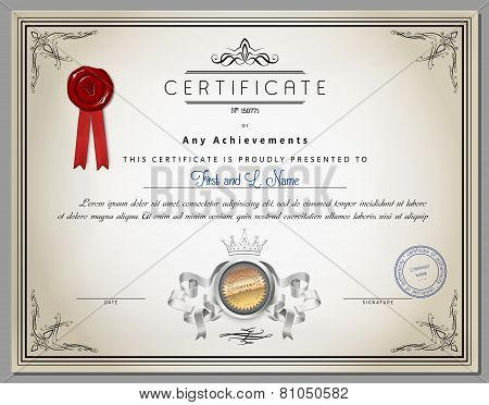 Vintage Certificate Template With Detailed Border And Calligraphic Elements On Old Paper With Ribbon