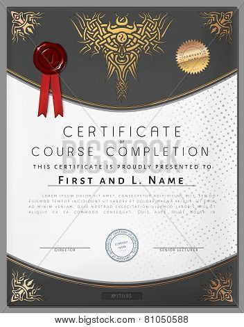 Gift Vintage Certificate Of Education Completion As Award On Paper For Graduate Of Student In Vector