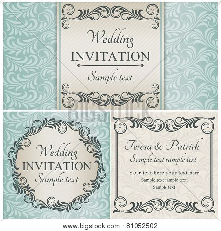 Baroque wedding invitation set, brown, beige and blue