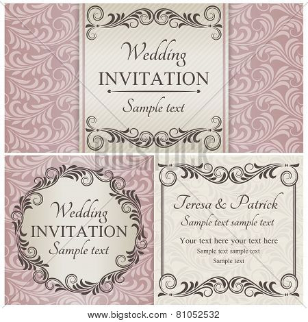 Baroque wedding invitation set, brown, beige and pink