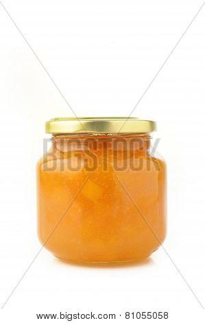 Jar Of Peach Jam On White Background