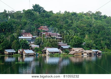 Village On Mountain And Riverside