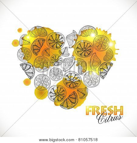 Isolated Heart Of Citrus