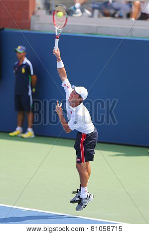 Professional tennis player Kei Nishikori from Japan during US Open 2014 match