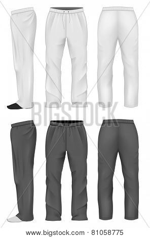 Men's white and black sweatpants white. Vector illustration.