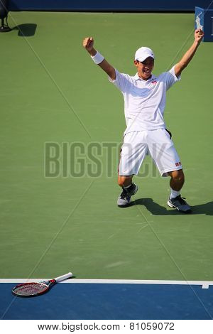 Professional tennis player Kei Nishikori celebrates victory after US Open 2014 men semifinal match