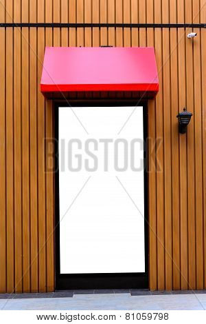 Red Awning With Wooden Wall