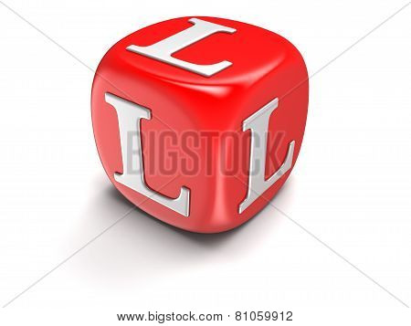 Dice with letter L (clipping path included)