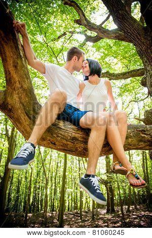 Love - kiss on tree