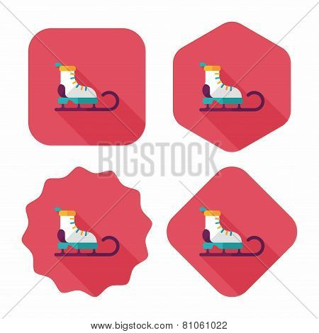 Santa's Sleigh Flat Icon With Long Shadow Eps10