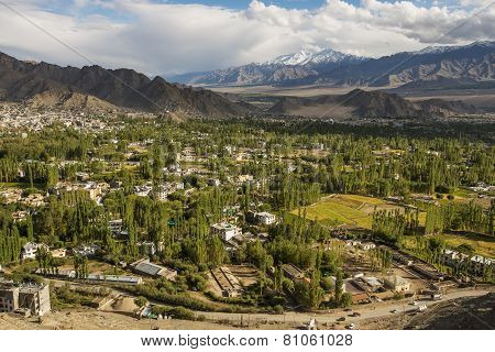 Views of Leh city from Shanti Stupa Ladakh ,India  - September 2014