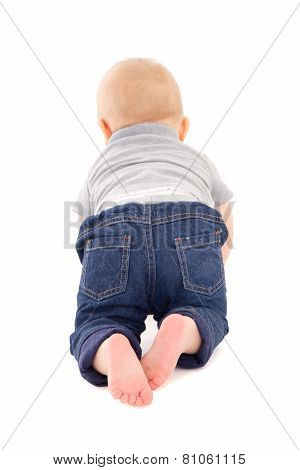 Back View Of Little Baby Boy Toddler  Isolated On White