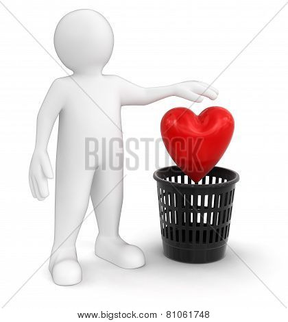 man throws heart (clipping path included)