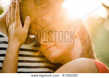 Young couple in love hugging