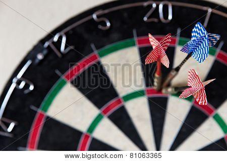 Dartboard With Steeldarts In It