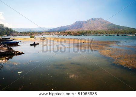Danar Batur Lake In Volcanic Caldera, Bali, Indonesia