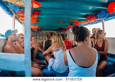 Group Of Travellers On Public Indonesian Boat