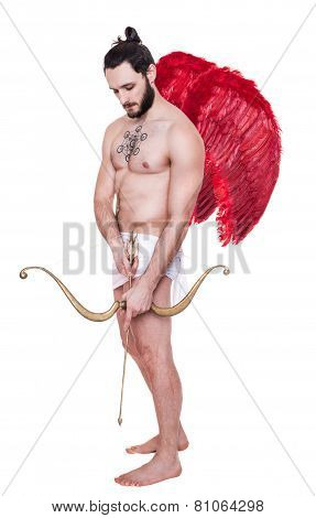 Sexy adult Cupid with red wings. Valentine, Archangel