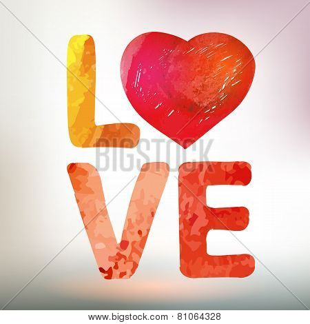 Love You Watercolor Vector Card With Heart