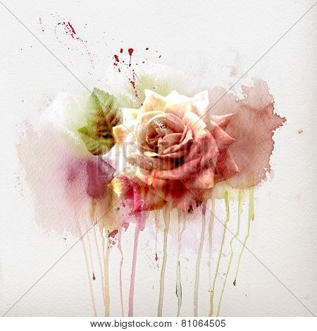 Watercolor painting floral background