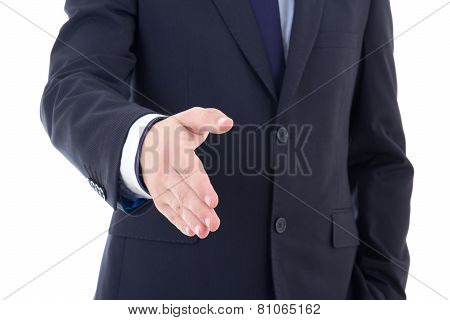 Business Man Hand Extended To Handshake Isolated On White