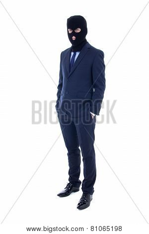 Fraud Concept - Man In Business Suit And Black Mask Isolated On White