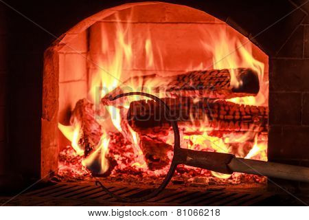 Traditional Kitchen Equipment With Wood Oven