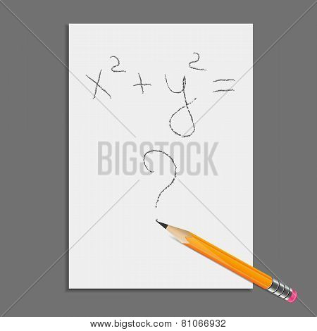 Sheet Of Paper With Pencil And Equation