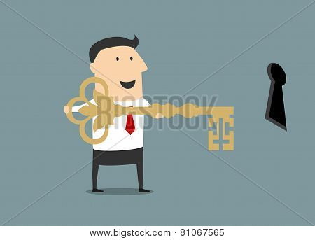 Cartoon businessman with golden key of success