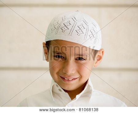 Little Arabian school kid