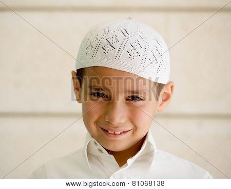 Little Arabian school kid