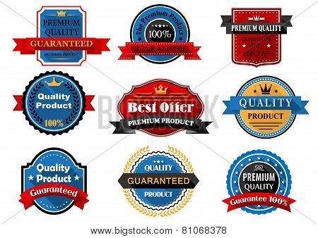 Quality and guarantee flat labels with heraldic elements