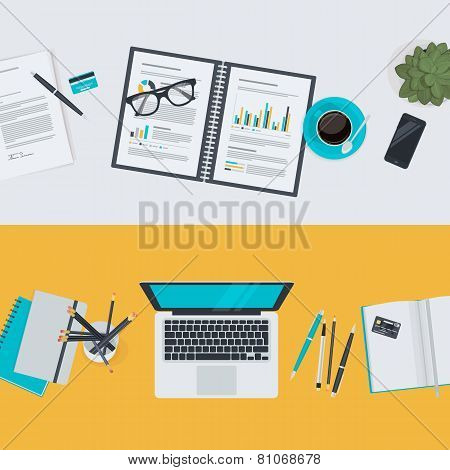 Set of flat design illustration concepts for business and finance