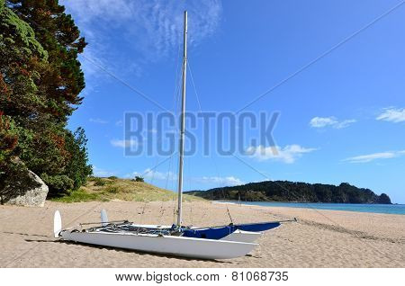 Catamaran Boat On Hot Water Bech - New Zealand