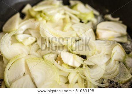 Fried Onions In Pan