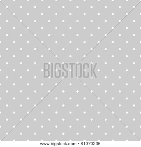 Tile vector pattern with small white polka dots on grey background