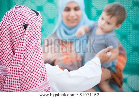 Happy Arabic Muslim Middle Eastern Gulf family