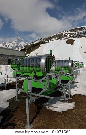 Snow Cannons In The Mountains In Spring