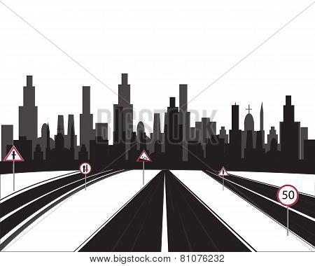 Big city and roads