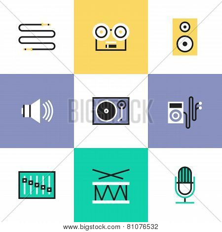 Audio And Sound Pictogram Icons Set