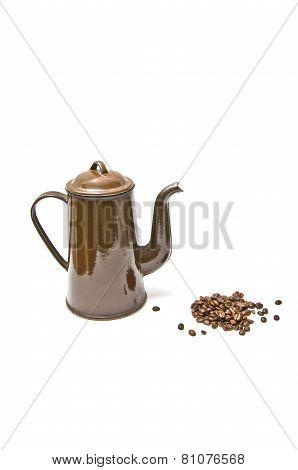 brown coffee pot and coffee