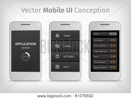 Gray And Orange Vector Mobile User Interface Conception