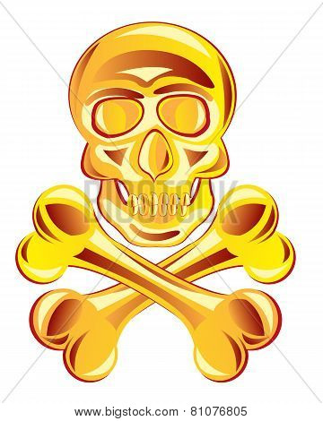 Golden skull with bone