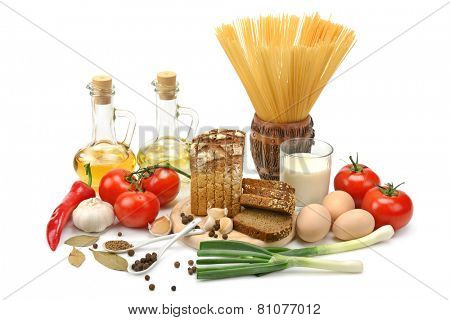 collection of natural products isolated on a white background