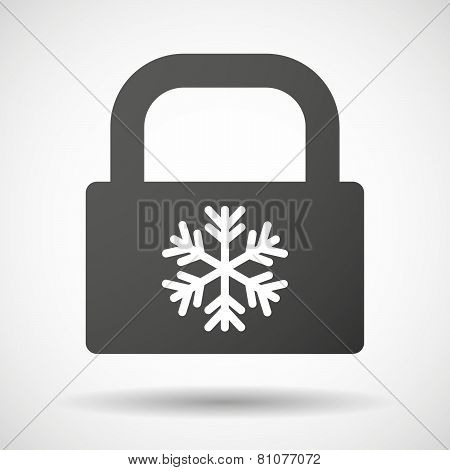 Lock Icon With A Snow Flake