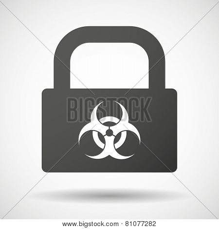 Lock Icon With A Biohazard Sign