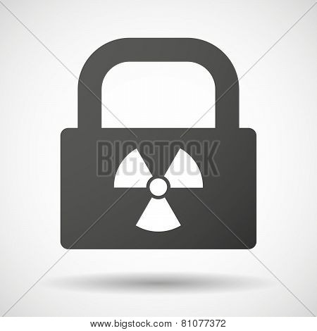 Lock Icon With A Radioactivity Sign